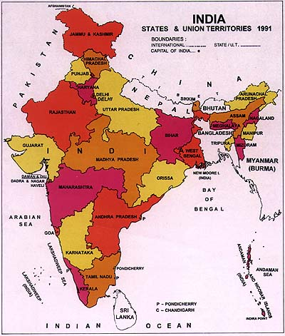 India Political Map, courtesy: Census of India